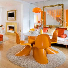 Chaises contemporaines De couleur orange